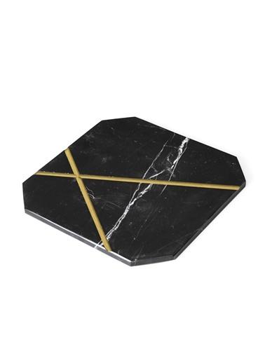 Gold X Dörtgen Sunum Tabağı-Marble&Etc.
